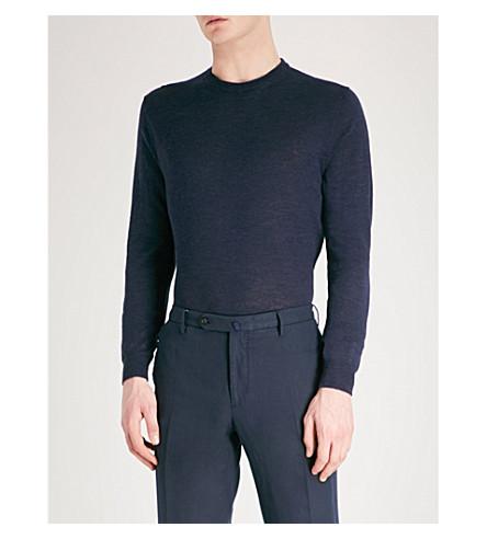 CORNELIANI Melange wool silk and linen-blend jumper (Navy