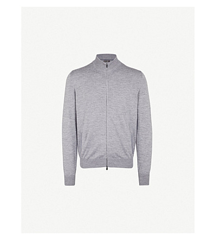 CORNELIANI Zip-up wool, silk and cashmere-blend cardigan (Grey