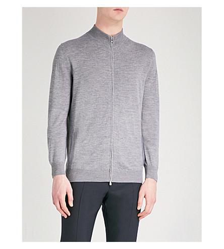 CORNELIANI Zip-up wool, silk and cashmere-blend cardigan (Grey