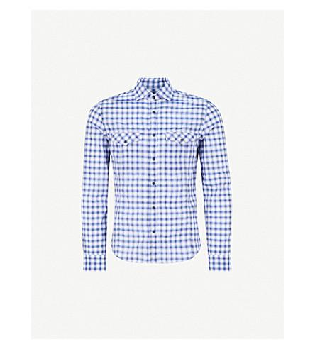 CORNELIANI Checked slim-fit cotton shirt (Blue