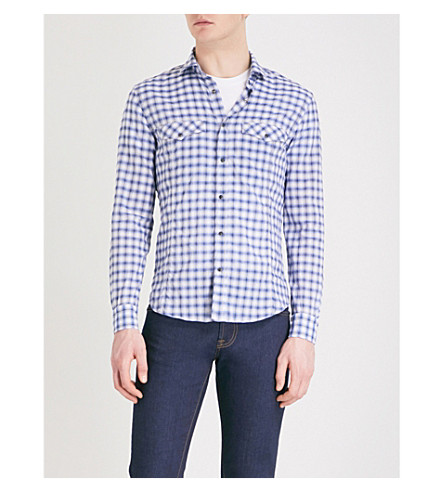 CORNELIANI Checked slim-fit cotton shirt (Blue