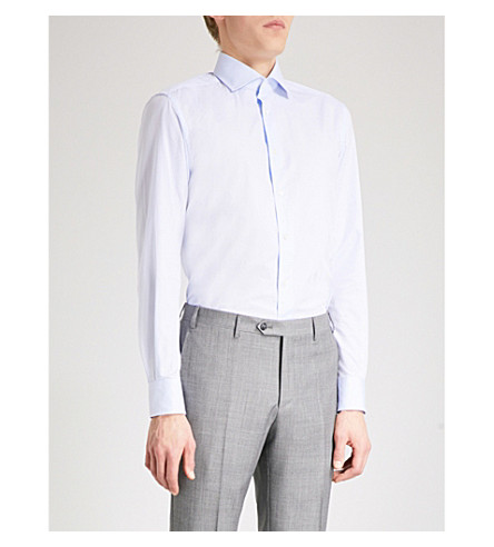 CORNELIANI Houndstooth tailored-fit cotton shirt (Sky