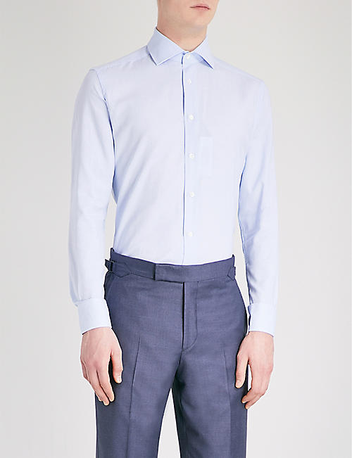 CORNELIANI Micro dogtooth-patterned tailored-fit cotton shirt