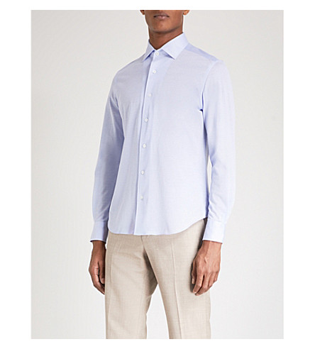 CORNELIANI Slim-fit cotton Oxford shirt (Blue