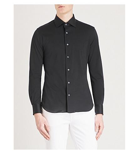 CORNELIANI Slim-fit cotton-jersey shirt (Black