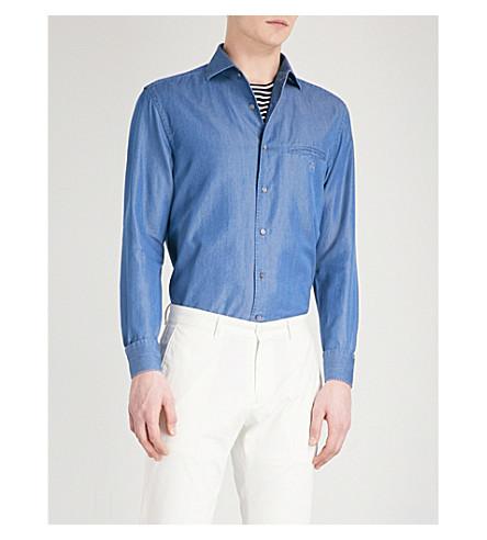 CORNELIANI Tailored-fit denim shirt (Blue