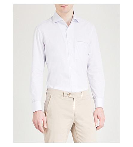 CORNELIANI Patterned slim-fit cotton shirt (White