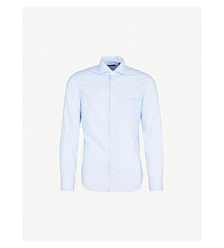 CORNELIANI Washed tile-print cotton shirt (Sky