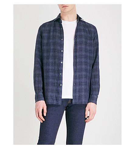 CORNELIANI Checked slim-fit linen shirt (Navy