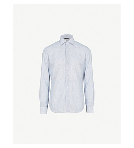 CORNELIANI Woven-texture regular-fit cotton shirt (Navy