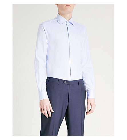 CORNELIANI Slim-fit cotton Oxford shirt (Sky