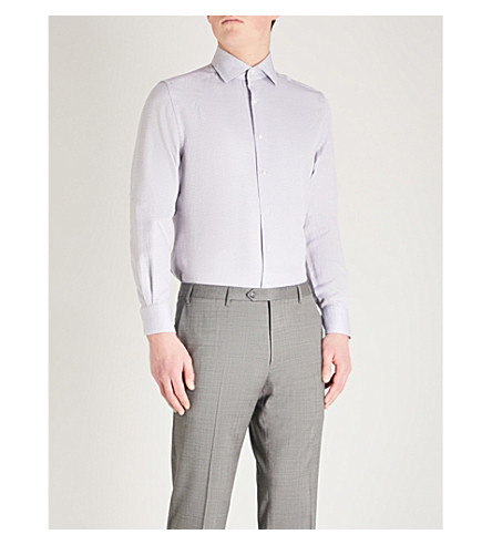 CORNELIANI Square-stitch regular-fit cotton shirt (Sky