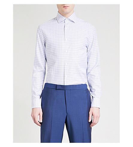 CORNELIANI Woven-texture regular-fit cotton shirt (White