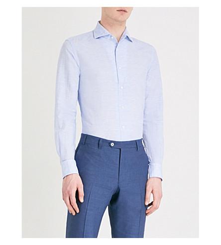 CORNELIANI Slim-fit cotton-blend shirt (Sky