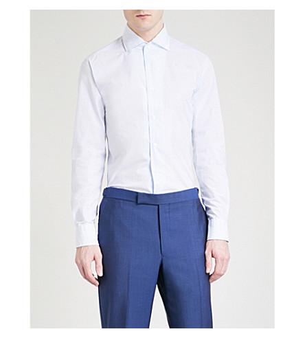 CORNELIANI Checked regular-fit cotton shirt (White