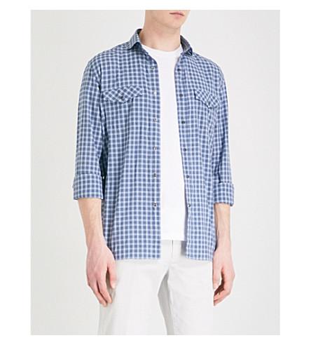 CORNELIANI Checked casual-fit cotton shirt (Blue