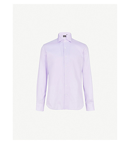 CORNELIANI Woven-texture slim-fit cotton shirt (Lilac