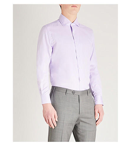 CORNELIANI Woven-texture slim-fit cotton shirt (Lilac