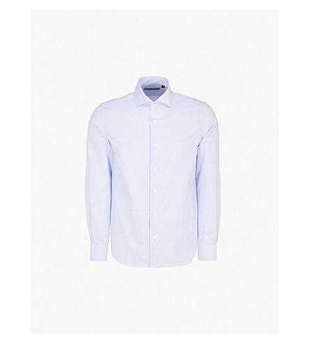 CORNELIANI Diagonal Stitch tailored-fit cotton shirt (White