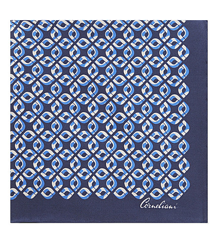 CORNELIANI Chain-link silk pocket square (Blue