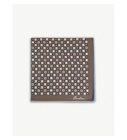 CORNELIANI Floral-tile silk pocket square (Grey
