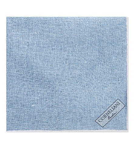 CORNELIANI Printed linen pocket square (Aqua