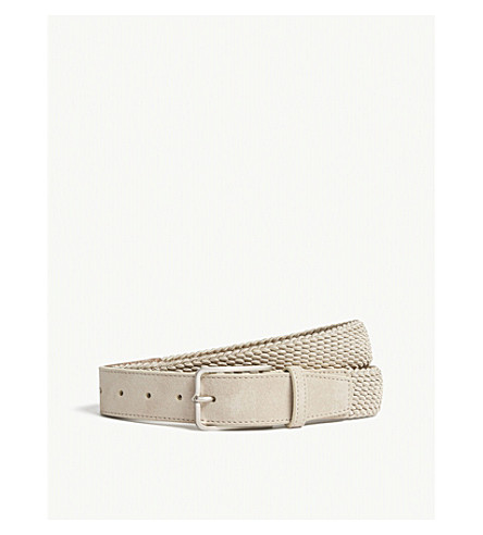 CORNELIANI Braided elasticated belt (Beige