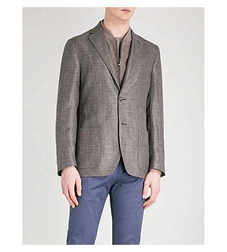 CORNELIANI Tailored-fit cotton and silk-blend jacket (Beige