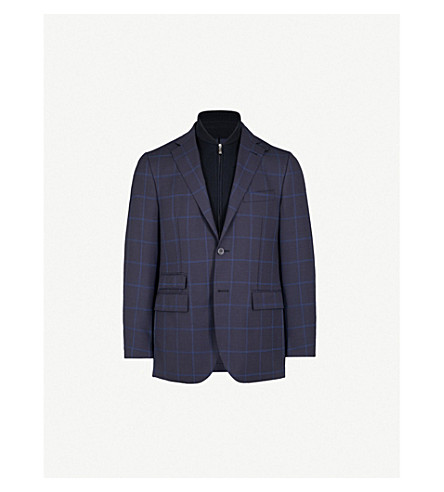 CORNELIANI Checked tailored-fit wool and mohair-blend jacket (Navy