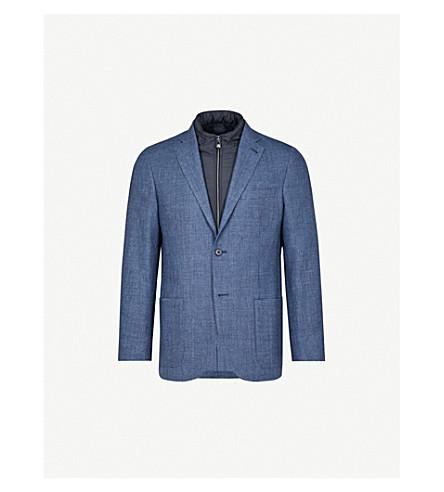 CORNELIANI ID hooded shell-trimmed wool jacket (Navy