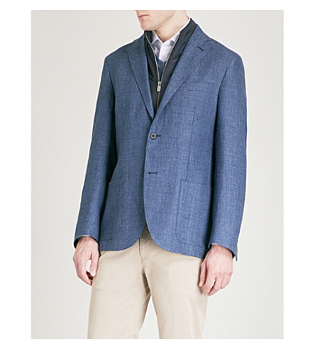 CORNELIANI ID hooded shell-trimmed wool jacket (Navy