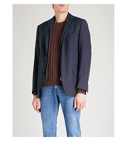 CORNELIANI Detachable-collar wool and mohair-blend jacket (Navy