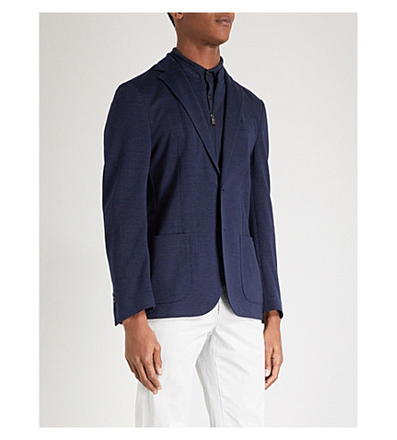CORNELIANI Regular-fit linen-blend jacket (Navy
