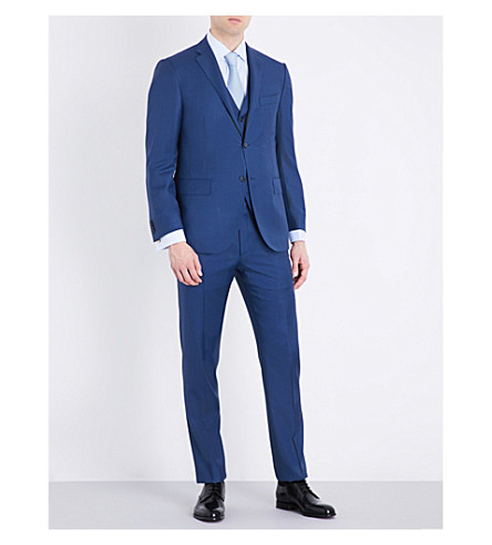 CORNELIANI Sharkskin academy-fit wool suit (Bright+blue