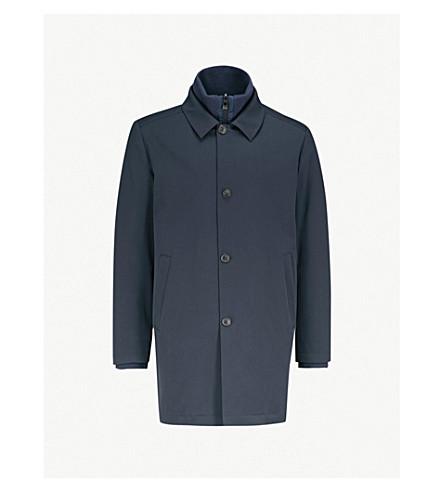 CORNELIANI Layered wool and cotton-blend jacket (Navy