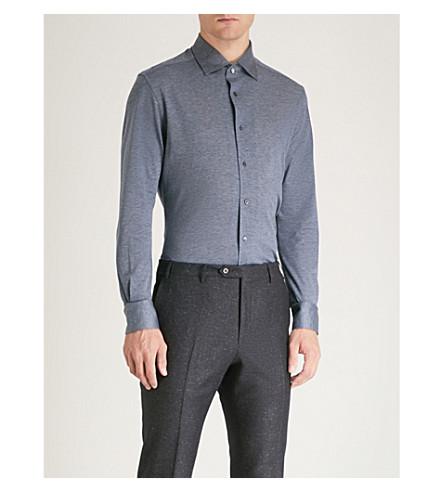 Textured Textured Blue regular piqu shirt cotton fit CORNELIANI CORNELIANI regular FRwA4t