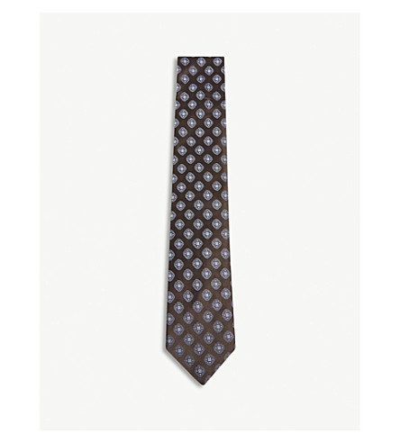 CORNELIANI Tile print silk tie (Brown