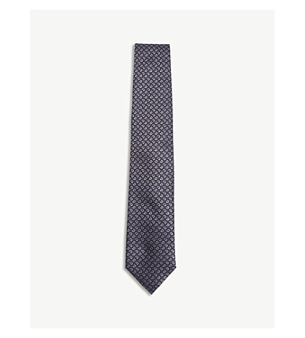 CORNELIANI Pin-dot silk tie (Plum