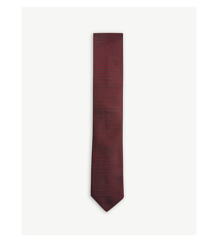 CORNELIANI Mini chevron silk tie (Red