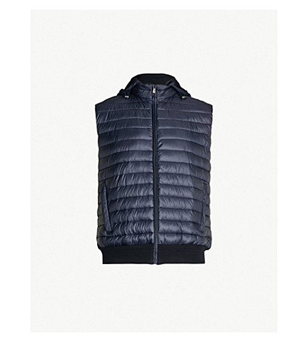 CORNELIANI Padded shell and knitted-cotton hooded gilet (Navy