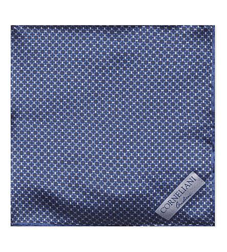 CORNELIANI Circle-pattern silk pocket square (Indigo+2