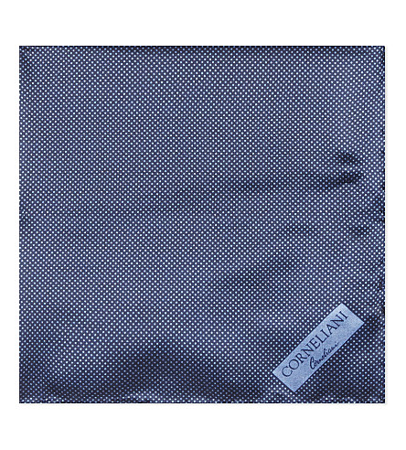 CORNELIANI Micro-dot ssilk pocket square (Indigo+3