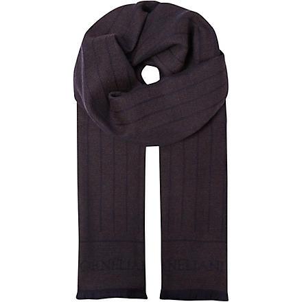 CORNELIANI Woven stripe wool scarf (Bronze