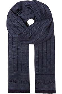 CORNELIANI Woven stripe wool scarf