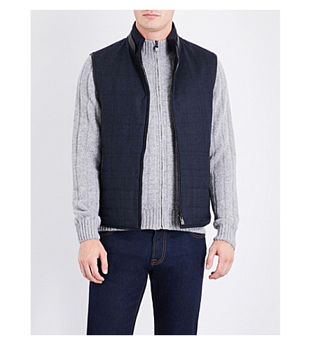 CORNELIANI Reversible suede gilet (Blue