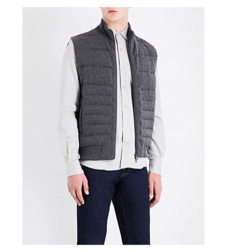 CORNELIANI Quilted wool and cashmere-blend gilet (Mid+grey