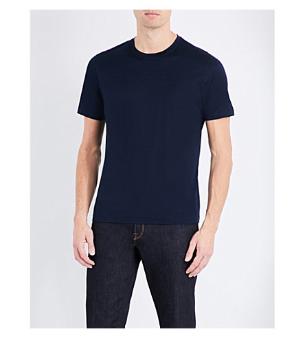 CORNELIANI Crewneck cotton-jersey T-shirt (Navy