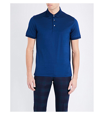 CORNELIANI Cotton-jersey polo shirt (Open+blue