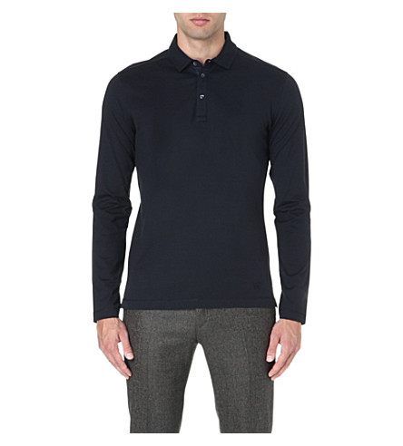 CORNELIANI Long-sleeve jersey polo shirt (Navy