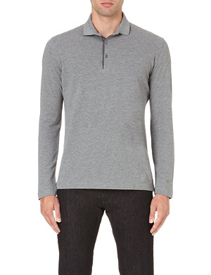 CORNELIANI Long-sleeved cotton polo shirt